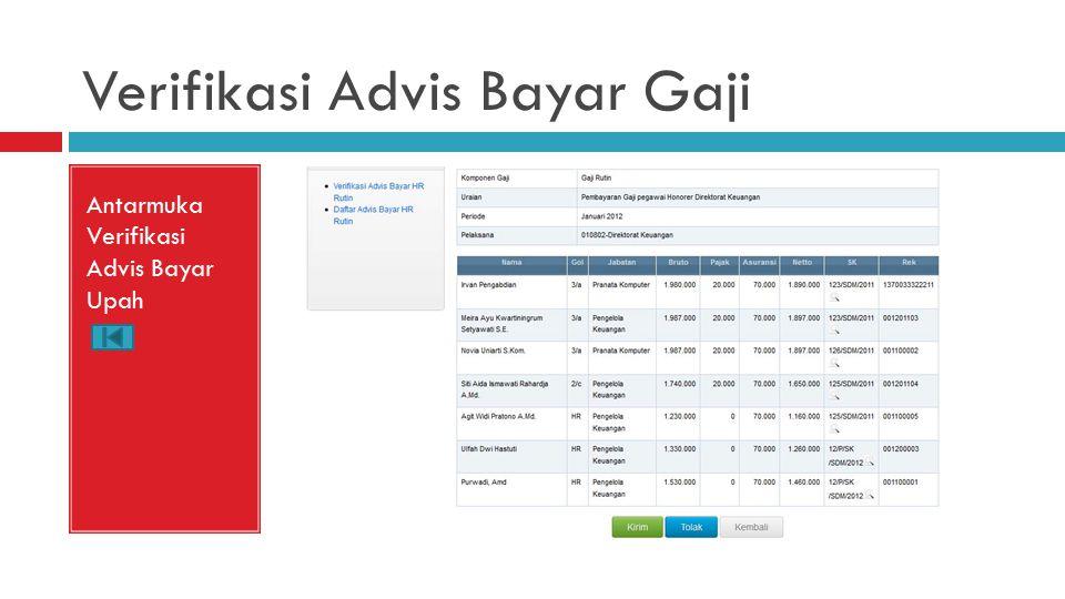 Verifikasi Advis Bayar Gaji Antarmuka Verifikasi Advis Bayar Upah