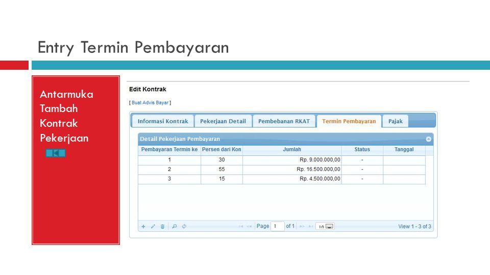 Entry Termin Pembayaran Antarmuka Tambah Kontrak Pekerjaan