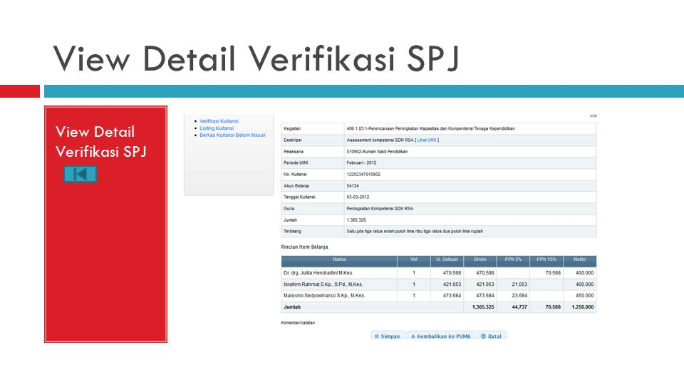 View Detail Verifikasi SPJ