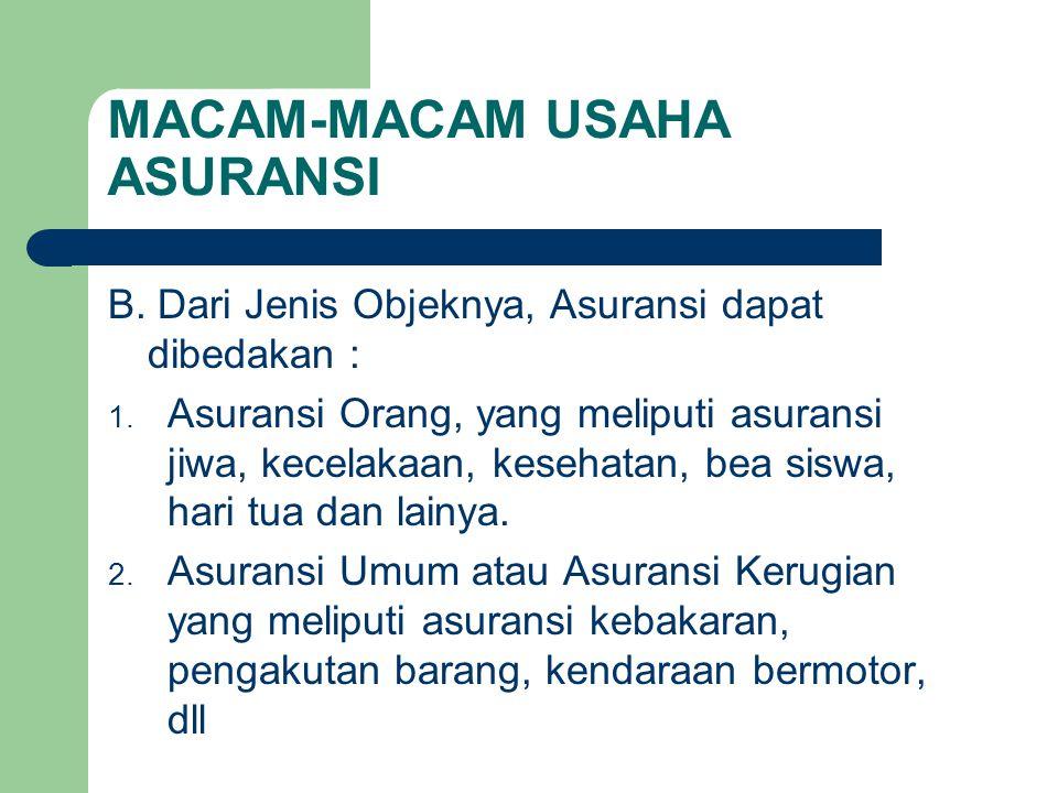 MACAM-MACAM USAHA ASURANSI B. Dari Jenis Objeknya, Asuransi dapat dibedakan : 1. Asuransi Orang, yang meliputi asuransi jiwa, kecelakaan, kesehatan, b