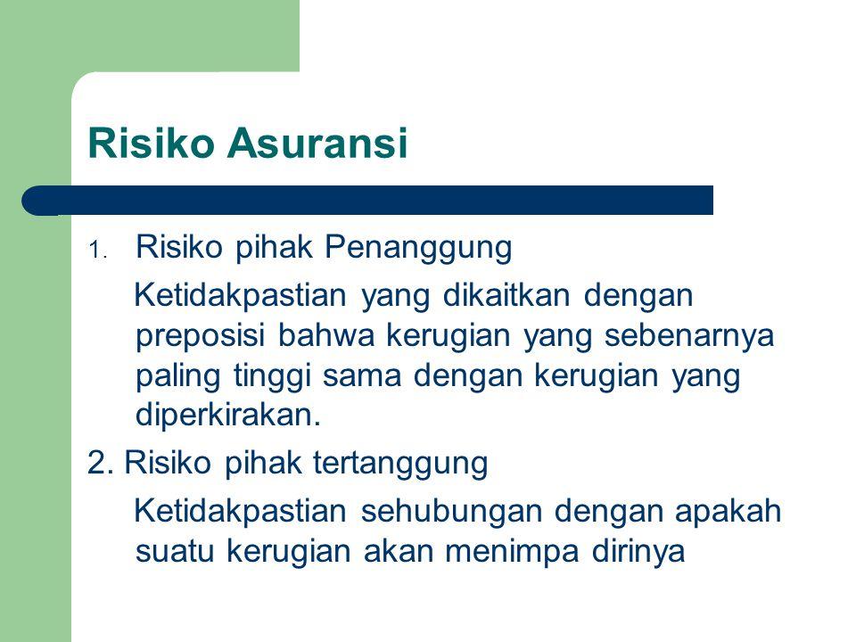 Risiko Asuransi 1. Risiko pihak Penanggung Ketidakpastian yang dikaitkan dengan preposisi bahwa kerugian yang sebenarnya paling tinggi sama dengan ker