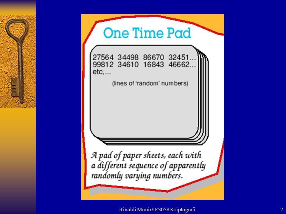 8  Penerima pesan memiliki salinan (copy) pad yang sama.