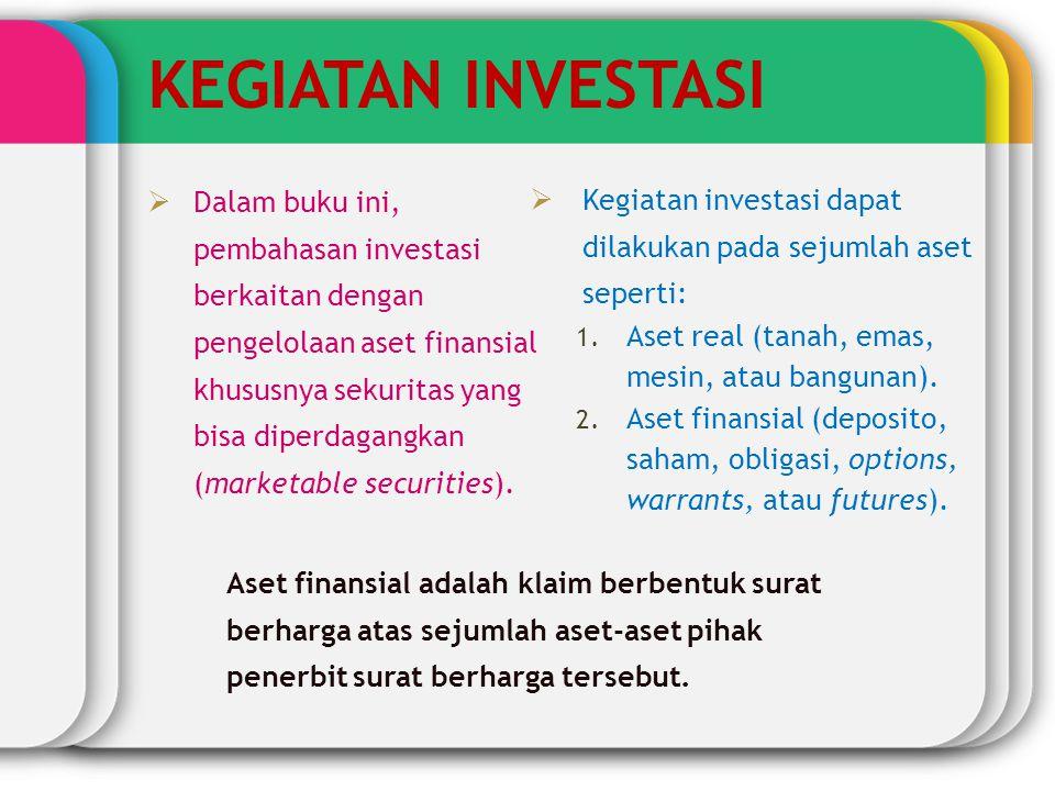 KEGIATAN INVESTASI  Dalam buku ini, pembahasan investasi berkaitan dengan pengelolaan aset finansial khususnya sekuritas yang bisa diperdagangkan (ma