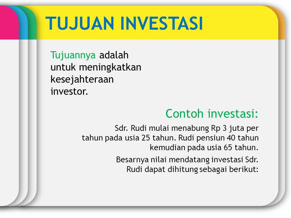 TUJUAN INVESTASI Tujuannya adalah untuk meningkatkan kesejahteraan investor. Contoh investasi: Sdr. Rudi mulai menabung Rp 3 juta per tahun pada usia