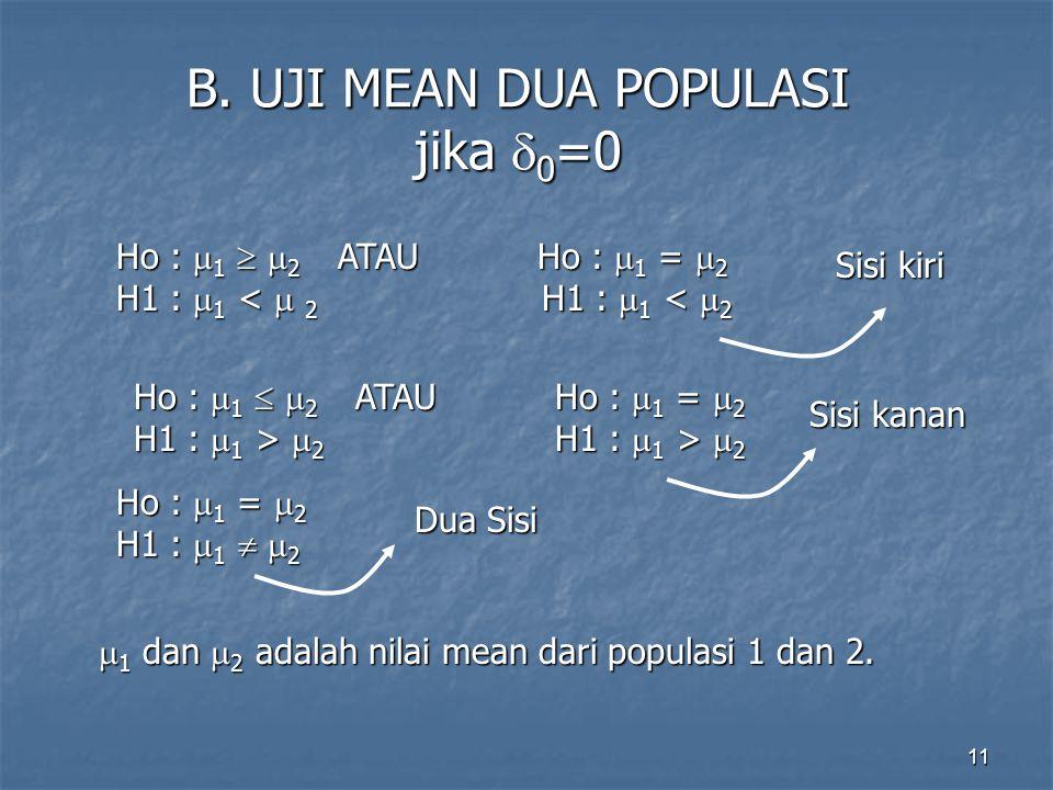 11 B. UJI MEAN DUA POPULASI jika  0 =0 Ho :  1   2 ATAUHo :  1 =  2 H1 :  1 <  2 H1 :  1 <  2  1 dan  2 adalah nilai mean dari populasi 1