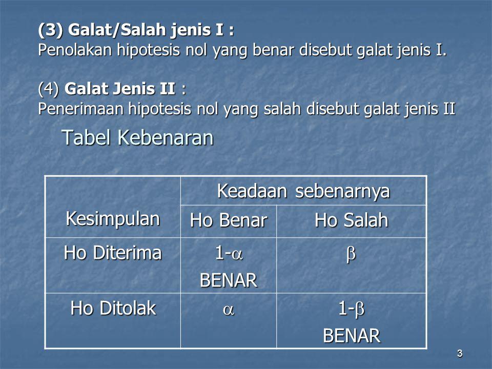 3 (3) Galat/Salah jenis I : Penolakan hipotesis nol yang benar disebut galat jenis I. (4) Galat Jenis II : Penerimaan hipotesis nol yang salah disebut