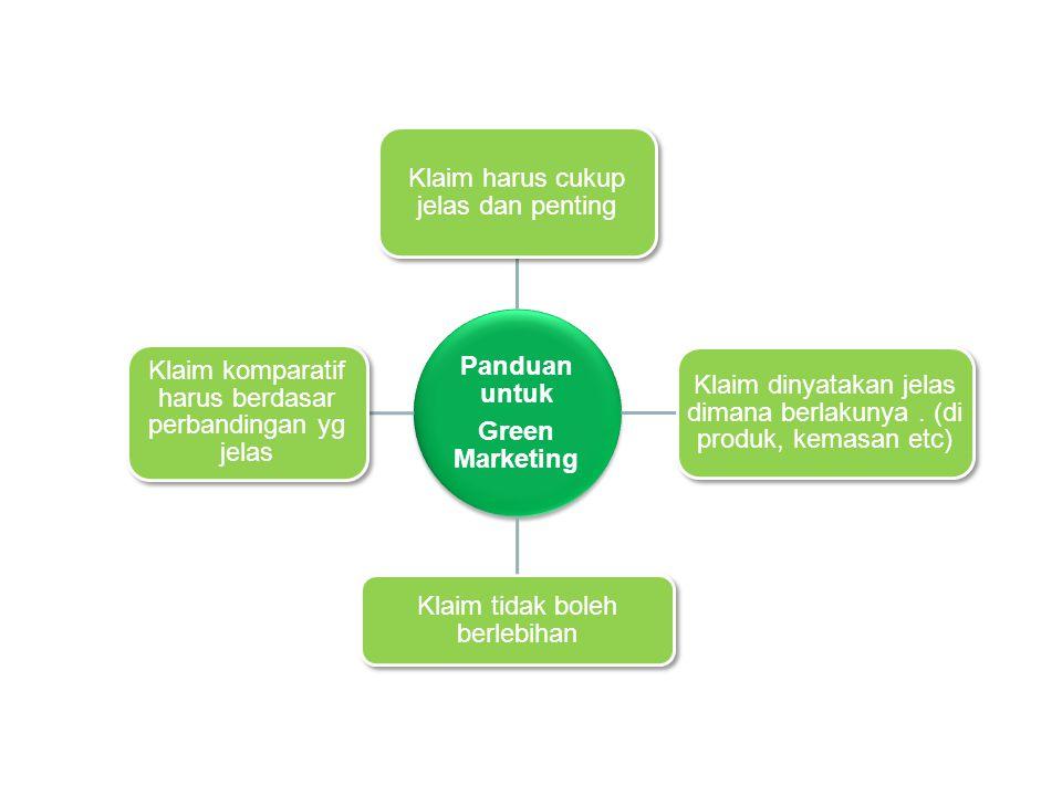 Panduan untuk Green Marketing Klaim harus cukup jelas dan penting Klaim dinyatakan jelas dimana berlakunya.