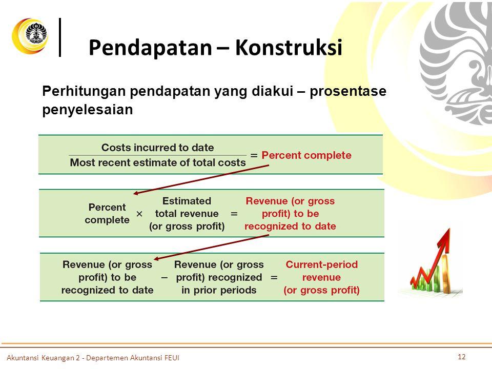 Pendapatan – Konstruksi 12 Akuntansi Keuangan 2 - Departemen Akuntansi FEUI Perhitungan pendapatan yang diakui – prosentase penyelesaian