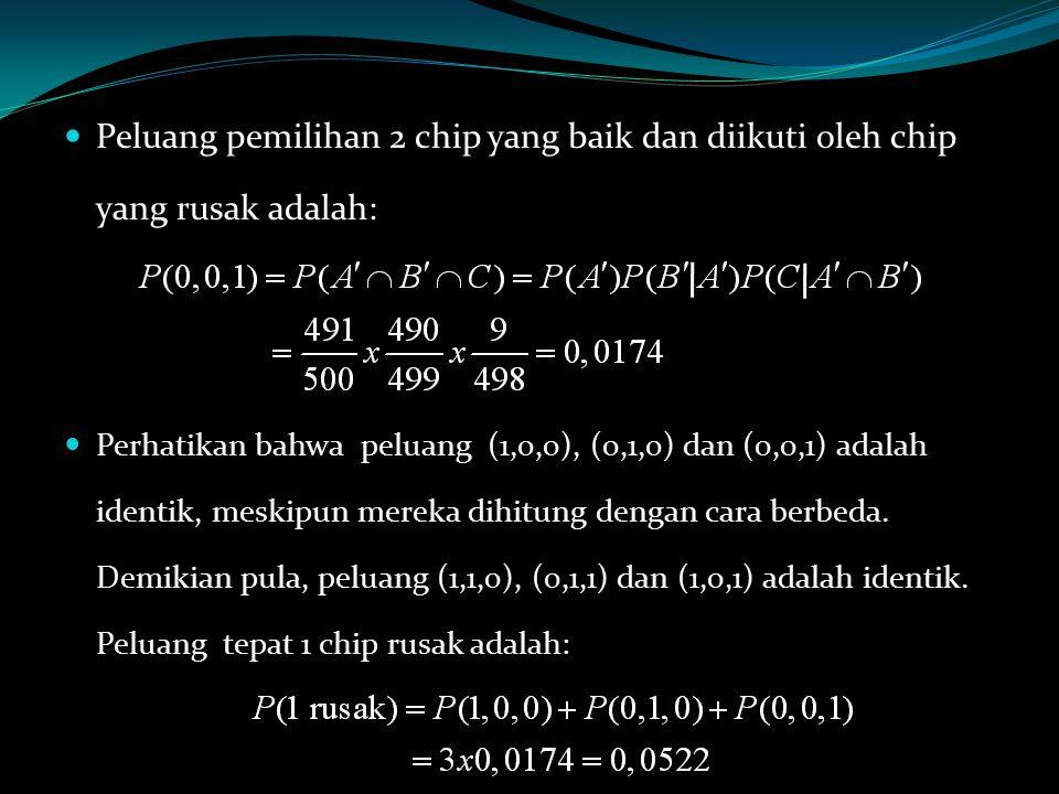 Peluang pemilihan 2 chip yang baik dan diikuti oleh chip yang rusak adalah: Perhatikan bahwa peluang (1,0,0), (0,1,0) dan (0,0,1) adalah identik, mesk