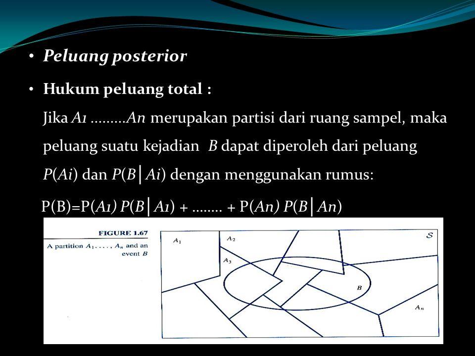 Peluang posterior Hukum peluang total : Jika A1.........An merupakan partisi dari ruang sampel, maka peluang suatu kejadian B dapat diperoleh dari pel