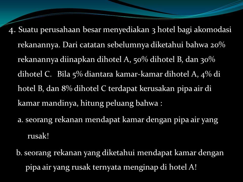 4. Suatu perusahaan besar menyediakan 3 hotel bagi akomodasi rekanannya. Dari catatan sebelumnya diketahui bahwa 20% rekanannya diinapkan dihotel A, 5