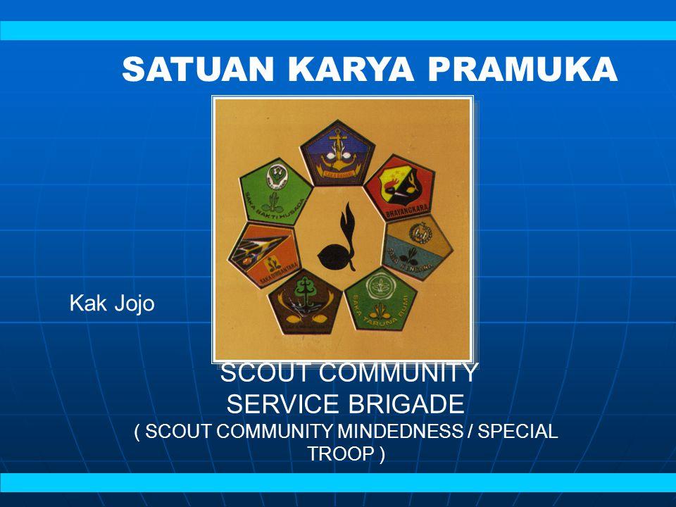 SCOUT COMMUNITY SERVICE BRIGADE ( SCOUT COMMUNITY MINDEDNESS / SPECIAL TROOP ) SATUAN KARYA PRAMUKA Kak Jojo