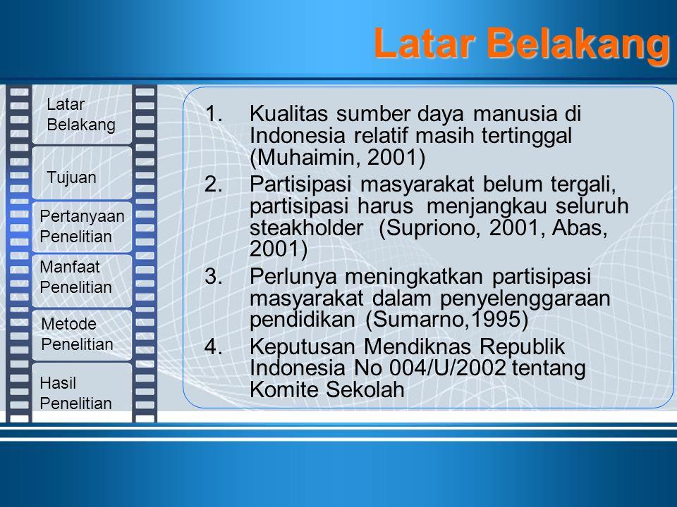 1.Kualitas sumber daya manusia di Indonesia relatif masih tertinggal (Muhaimin, 2001) 2.Partisipasi masyarakat belum tergali, partisipasi harus menjan