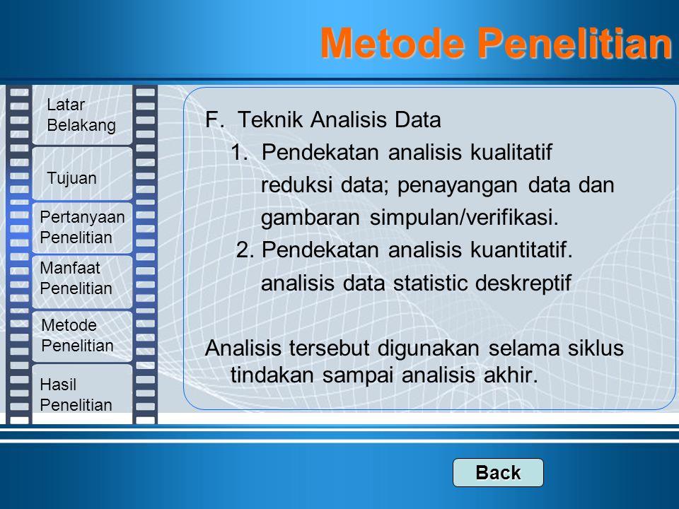 F. Teknik Analisis Data 1. Pendekatan analisis kualitatif reduksi data; penayangan data dan gambaran simpulan/verifikasi. 2. Pendekatan analisis kuant