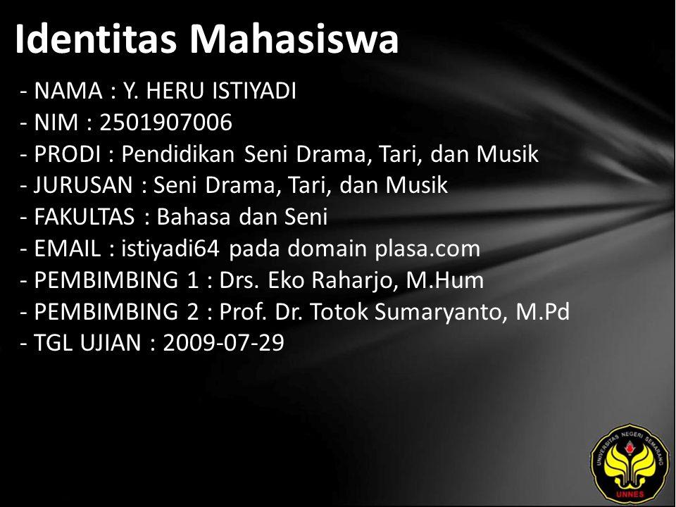 Identitas Mahasiswa - NAMA : Y.