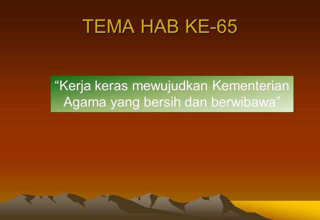 "TEMA HAB KE-65 ""Kerja keras mewujudkan Kementerian Agama yang bersih dan berwibawa"""