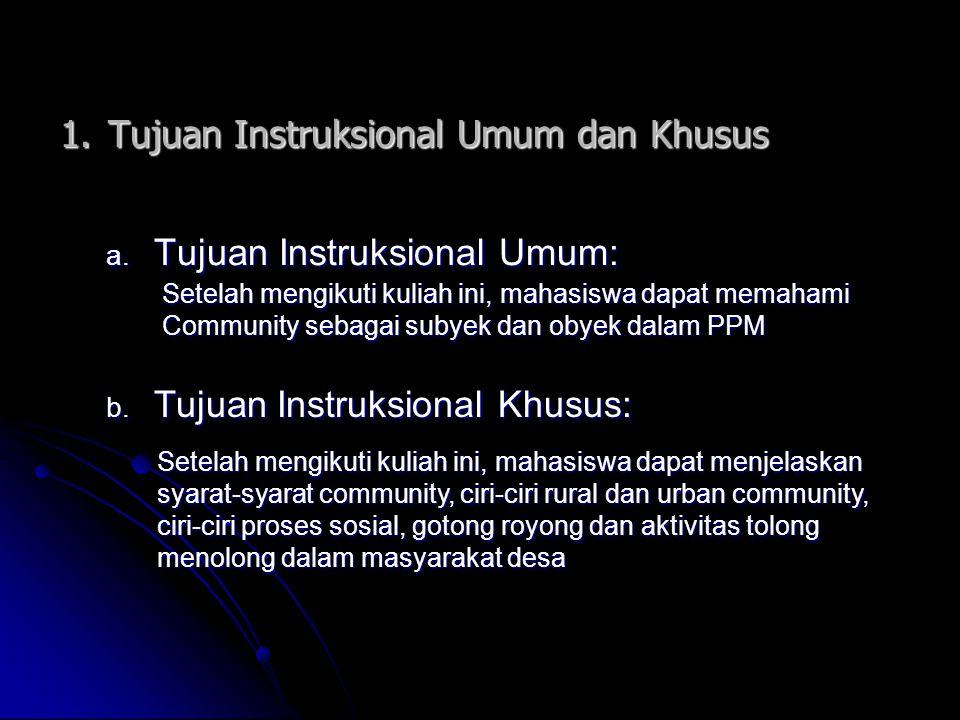 1.Tujuan Instruksional Umum dan Khusus a. Tujuan Instruksional Umum: Setelah mengikuti kuliah ini, mahasiswa dapat memahami Community sebagai subyek d