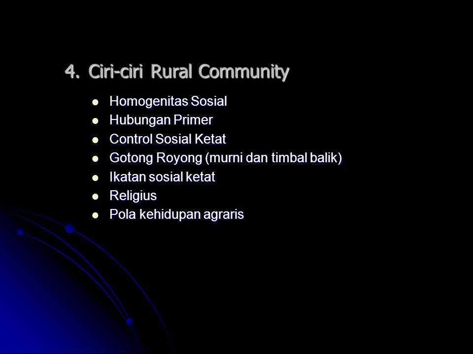 4. Ciri-ciri Rural Community Homogenitas Sosial Homogenitas Sosial Hubungan Primer Hubungan Primer Control Sosial Ketat Control Sosial Ketat Gotong Ro