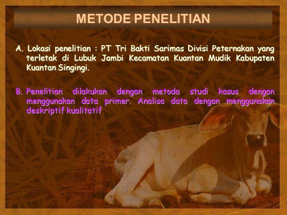 METODE PENELITIAN A. Lokasi penelitian : PT Tri Bakti Sarimas Divisi Peternakan yang terletak di Lubuk Jambi Kecamatan Kuantan Mudik Kabupaten Kuantan