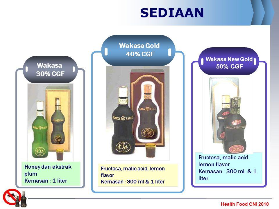 Health Food CNI 2010 SEDIAAN Wakasa 30% CGF Honey dan ekstrak plum Kemasan : 1 liter Wakasa Gold 40% CGF Fructosa, malic acid, lemon flavor Kemasan :