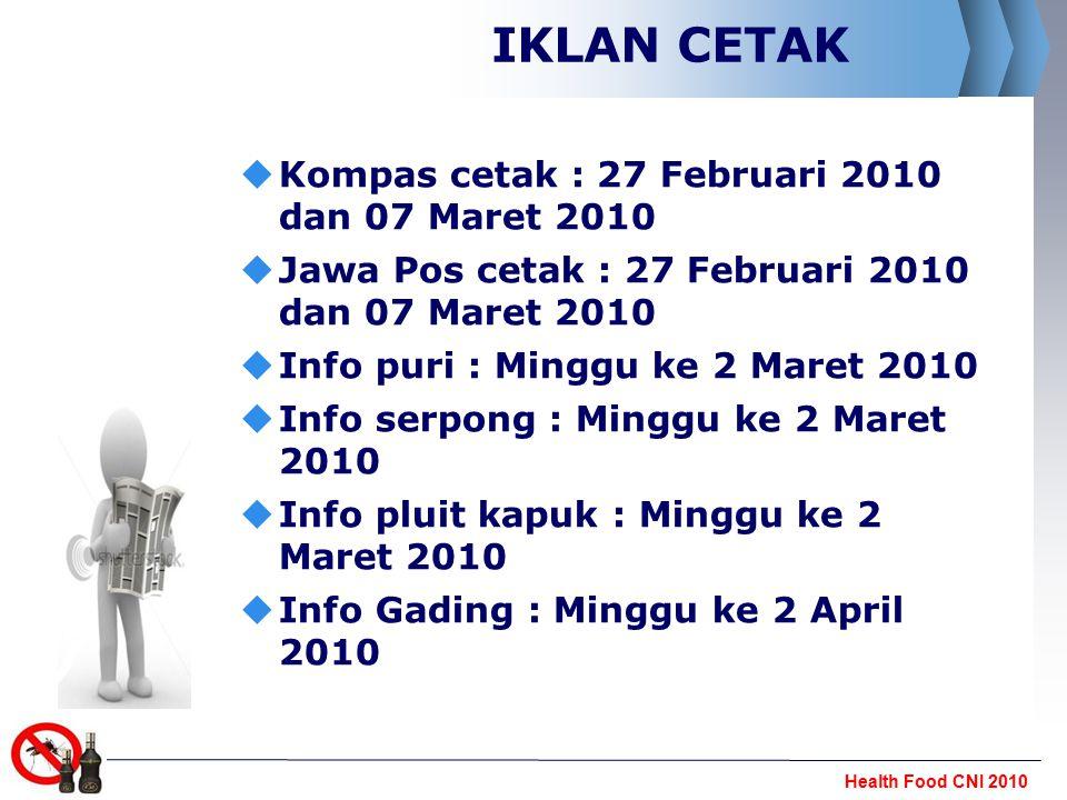 Health Food CNI 2010 RADIO  Radio Elshinta : Talk show, 5 April 2010 pukul 09.00 JAK, BDG, TGL, SMG, Pekalongan, SBY, LPG & MDN)   Radio smart FM :Talk show, 6 April 2010 pukul 09.00 (JAK, SBY, MKS)   Radio FBI Bali :Talk show, Mei 2010 pukul 09.00  Koran sindo dan iklan TV di sindo pagi  link ke www.cni.co.id dan disertai NO.