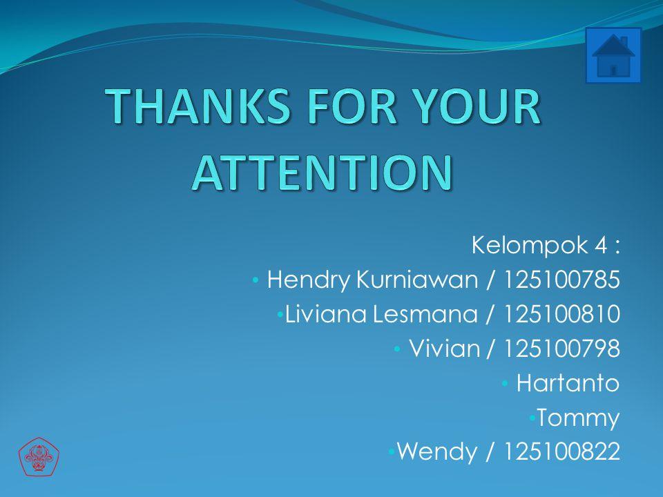 Kelompok 4 : Hendry Kurniawan / 125100785 Liviana Lesmana / 125100810 Vivian / 125100798 Hartanto Tommy Wendy / 125100822