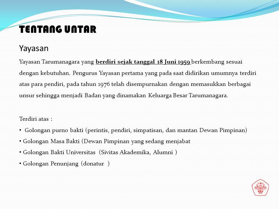 TENTANG UNTAR Yayasan Yayasan Tarumanagara yang berdiri sejak tanggal 18 Juni 1959 berkembang sesuai dengan kebutuhan. Pengurus Yayasan pertama yang p