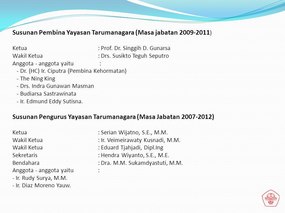 Susunan Pembina Yayasan Tarumanagara (Masa jabatan 2009-2011 ) Ketua : Prof. Dr. Singgih D. Gunarsa Wakil Ketua : Drs. Susikto Teguh Seputro Anggota -