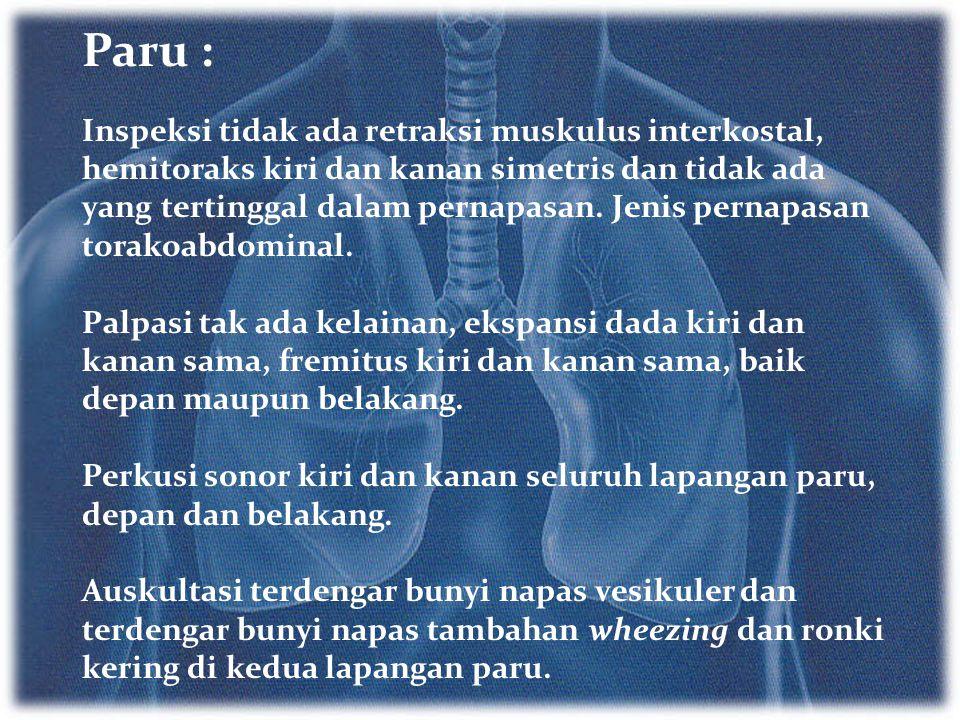 Paru : Inspeksi tidak ada retraksi muskulus interkostal, hemitoraks kiri dan kanan simetris dan tidak ada yang tertinggal dalam pernapasan. Jenis pern