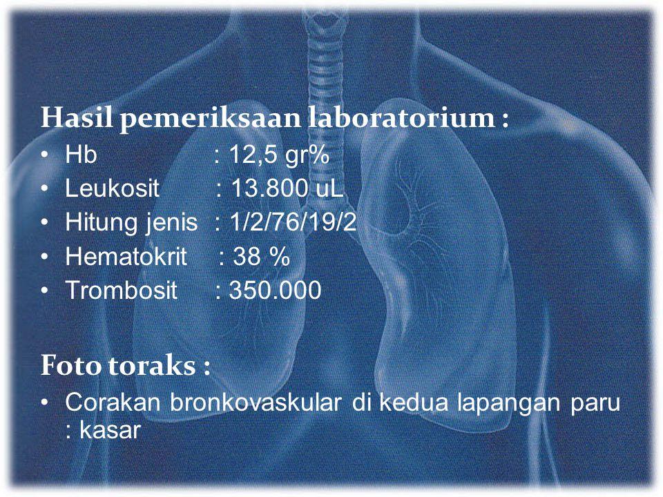 Hasil pemeriksaan laboratorium : Hb : 12,5 gr% Leukosit : 13.800 uL Hitung jenis : 1/2/76/19/2 Hematokrit : 38 % Trombosit : 350.000 Foto toraks : Cor