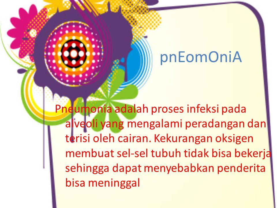 pnEomOniA Pneumonia adalah proses infeksi pada alveoli yang mengalami peradangan dan terisi oleh cairan. Kekurangan oksigen membuat sel-sel tubuh tida