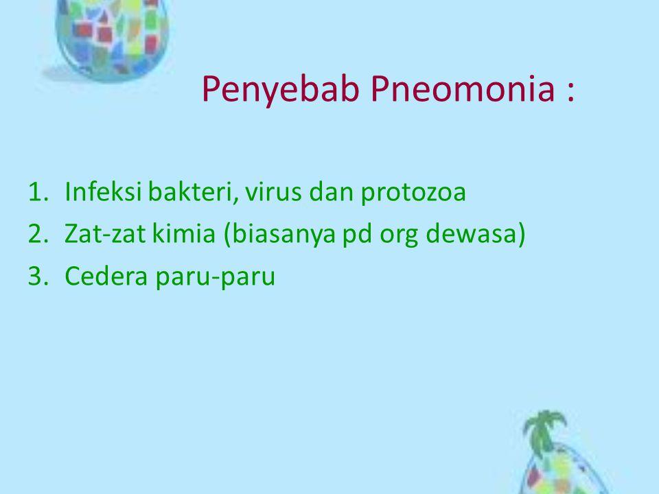 Penyebab Pneomonia : 1.Infeksi bakteri, virus dan protozoa 2.Zat-zat kimia (biasanya pd org dewasa) 3.Cedera paru-paru