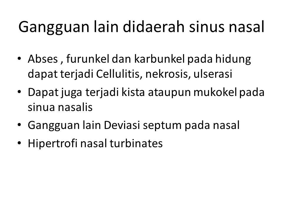 Gangguan lain didaerah sinus nasal Abses, furunkel dan karbunkel pada hidung dapat terjadi Cellulitis, nekrosis, ulserasi Dapat juga terjadi kista ata