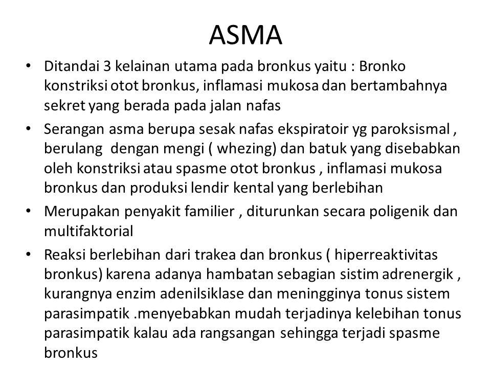 ASMA Ditandai 3 kelainan utama pada bronkus yaitu : Bronko konstriksi otot bronkus, inflamasi mukosa dan bertambahnya sekret yang berada pada jalan na