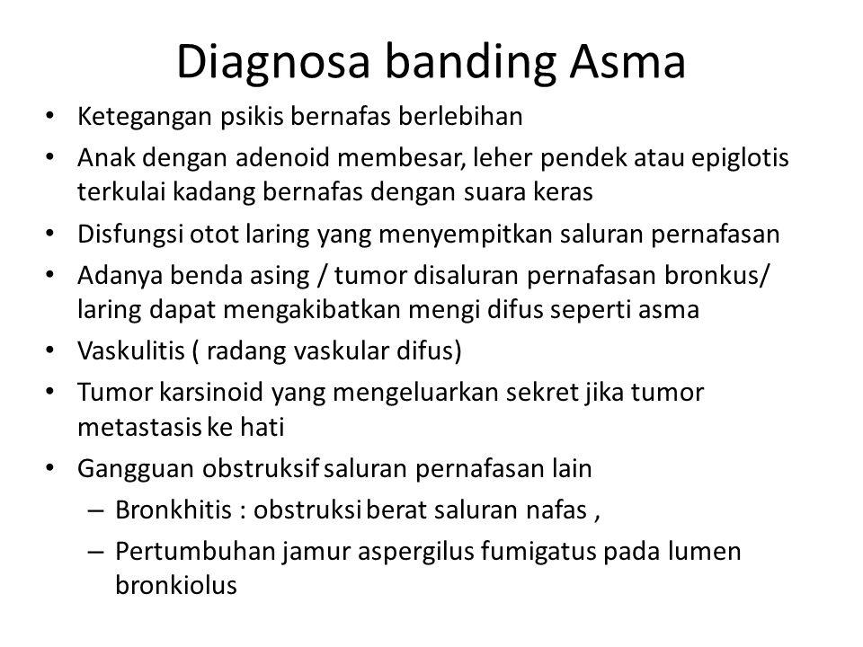 Diagnosa banding Asma Ketegangan psikis bernafas berlebihan Anak dengan adenoid membesar, leher pendek atau epiglotis terkulai kadang bernafas dengan