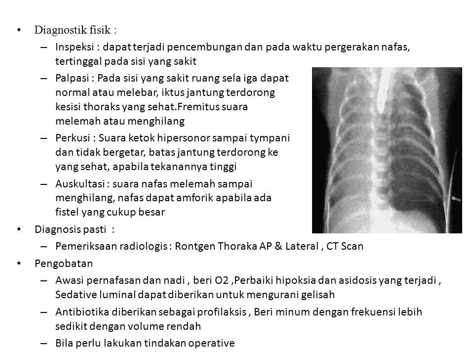 Diagnostik fisik : – Inspeksi : dapat terjadi pencembungan dan pada waktu pergerakan nafas, tertinggal pada sisi yang sakit – Palpasi : Pada sisi yang
