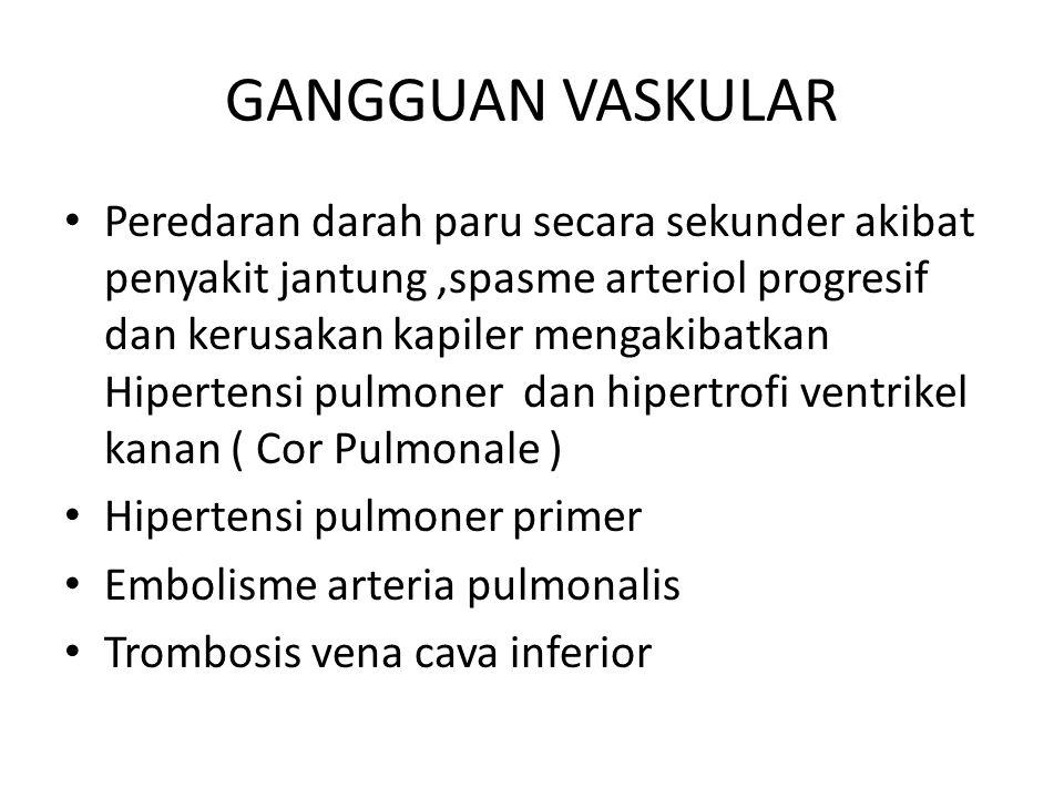 GANGGUAN VASKULAR Peredaran darah paru secara sekunder akibat penyakit jantung,spasme arteriol progresif dan kerusakan kapiler mengakibatkan Hipertens