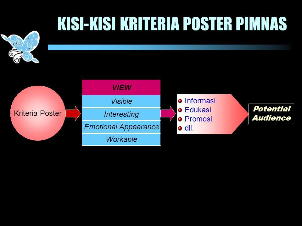 KISI-KISI KRITERIA POSTER PIMNAS Kriteria Poster Informasi Edukasi Promosi dll. Potential Audience Interesting Emotional Appearance Visible Workable V