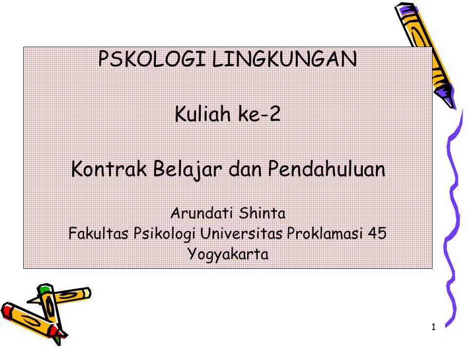 1 PSKOLOGI LINGKUNGAN Kuliah ke-2 Kontrak Belajar dan Pendahuluan Arundati Shinta Fakultas Psikologi Universitas Proklamasi 45 Yogyakarta