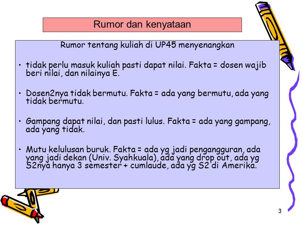 3 Rumor tentang kuliah di UP45 menyenangkan tidak perlu masuk kuliah pasti dapat nilai. Fakta = dosen wajib beri nilai, dan nilainya E. Dosen2nya tida