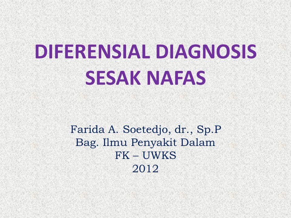 DIFERENSIAL DIAGNOSIS SESAK NAFAS Farida A. Soetedjo, dr., Sp.P Bag. Ilmu Penyakit Dalam FK – UWKS 2012