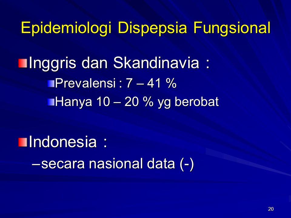 20 Epidemiologi Dispepsia Fungsional Inggris dan Skandinavia : Prevalensi : 7 – 41 % Hanya 10 – 20 % yg berobat Indonesia : –secara nasional data (-)