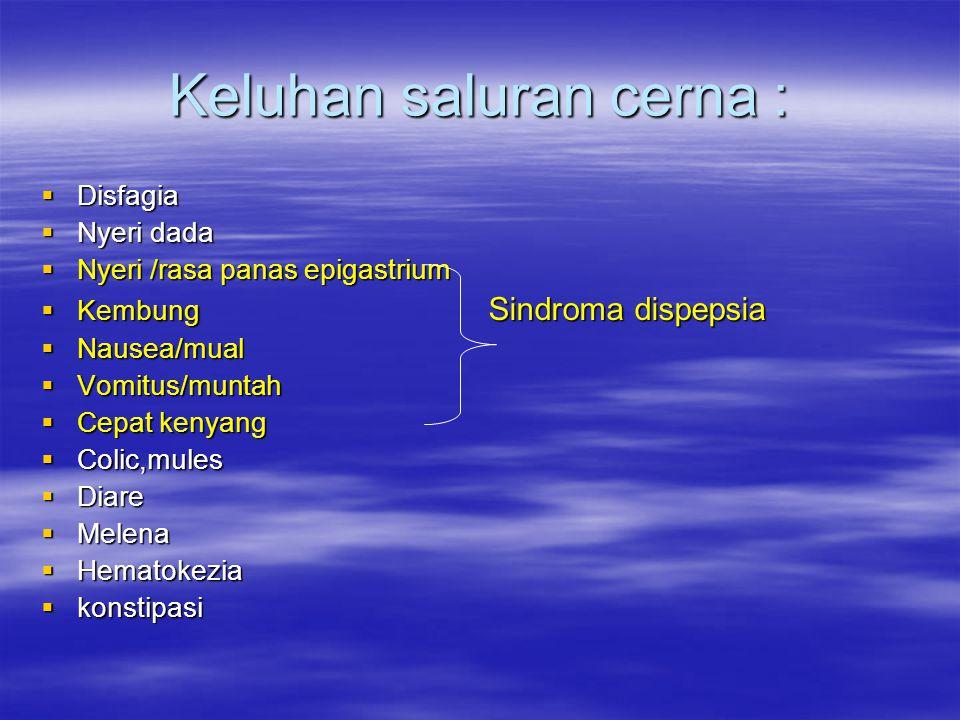 Keluhan saluran cerna :  Disfagia  Nyeri dada  Nyeri /rasa panas epigastrium  Kembung Sindroma dispepsia  Nausea/mual  Vomitus/muntah  Cepat ke
