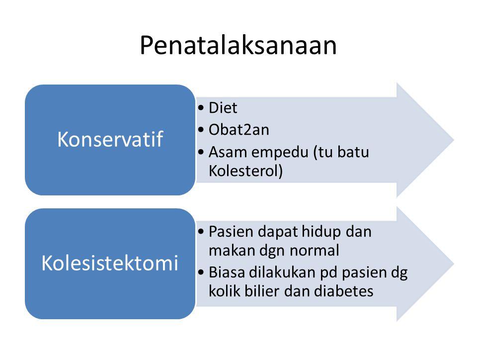 Penatalaksanaan Diet Obat2an Asam empedu (tu batu Kolesterol) Konservatif Pasien dapat hidup dan makan dgn normal Biasa dilakukan pd pasien dg kolik b