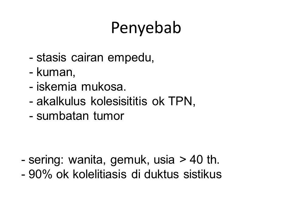 Penyebab - stasis cairan empedu, - kuman, - iskemia mukosa. - akalkulus kolesisititis ok TPN, - sumbatan tumor - sering: wanita, gemuk, usia > 40 th.