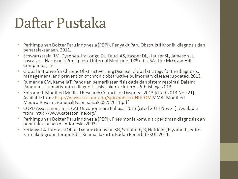 Daftar Pustaka Perhimpunan Dokter Paru Indonesia (PDPI). Penyakit Paru Obstruktif Kronik: diagnosis dan penatalaksanaan. 2011. Schwartzstein RM. Dyspn