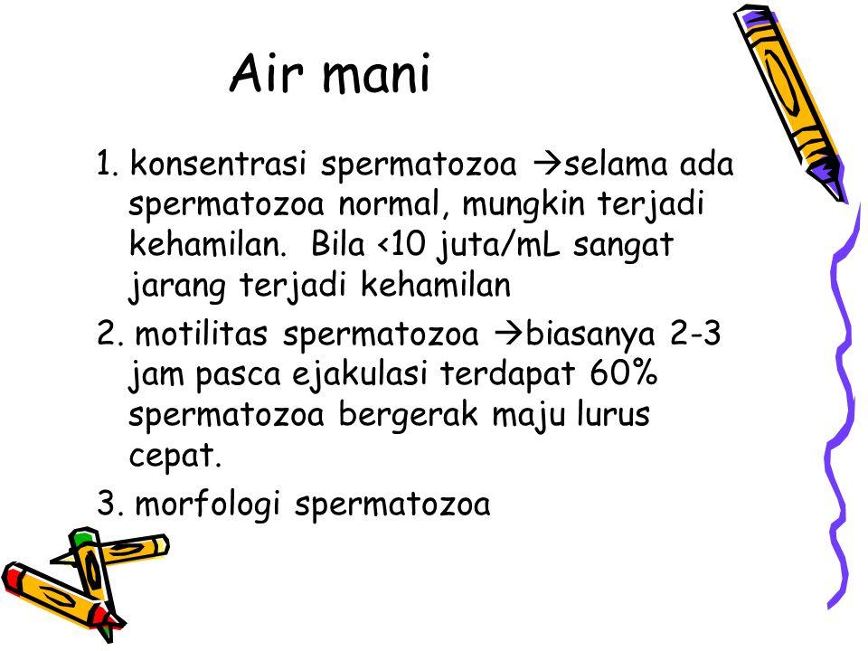 Air mani 1. konsentrasi spermatozoa  selama ada spermatozoa normal, mungkin terjadi kehamilan. Bila <10 juta/mL sangat jarang terjadi kehamilan 2. mo