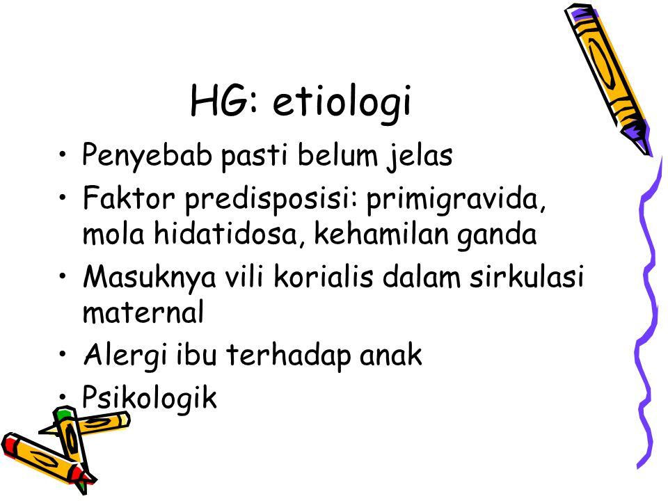 HG: patofisiologi Bila terjadi terus menerus  dehidrasi, ketidakseimbangan elektrolit  alkalosis hipokloremik Cadangan KH dan lemak habis terpakai  oksidasi lemak tak sempurna  ketosis.