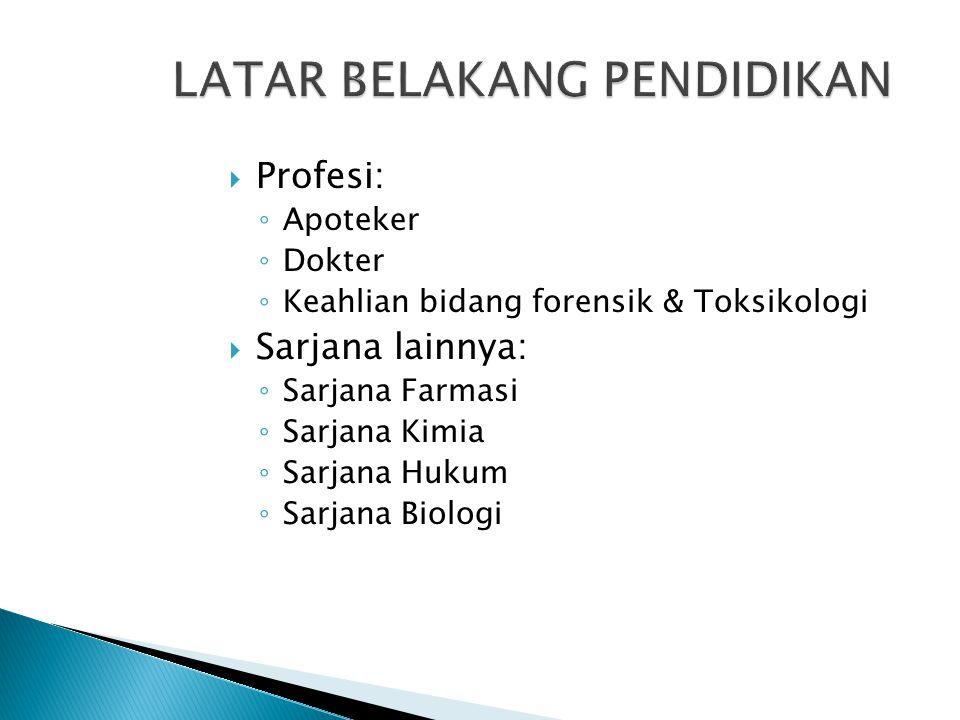  Profesi: ◦ Apoteker ◦ Dokter ◦ Keahlian bidang forensik & Toksikologi  Sarjana lainnya: ◦ Sarjana Farmasi ◦ Sarjana Kimia ◦ Sarjana Hukum ◦ Sarjana Biologi