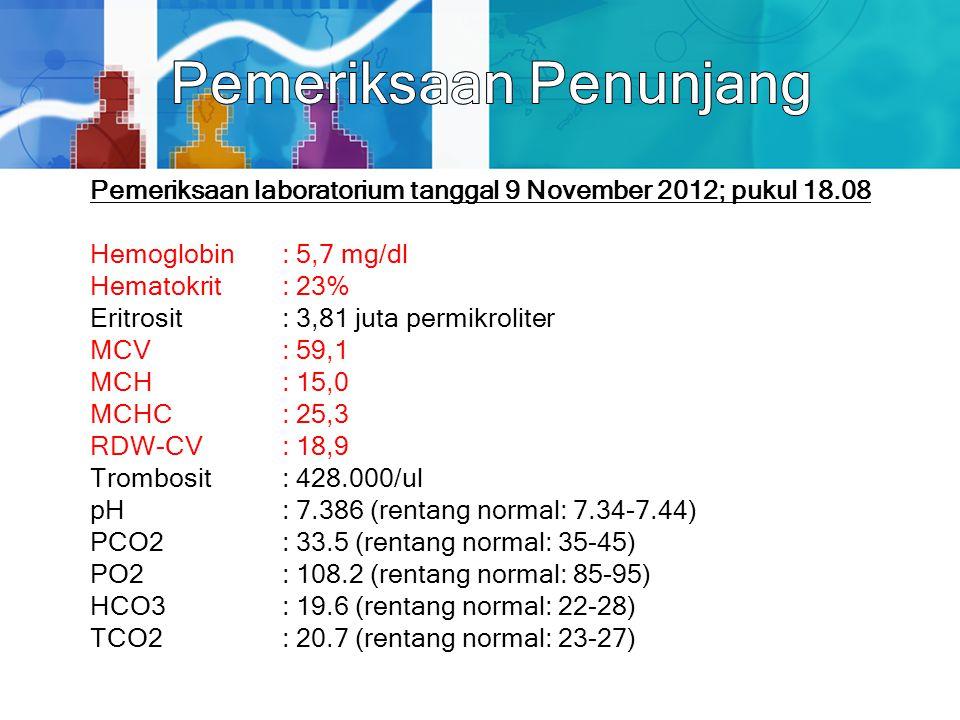 Pemeriksaan laboratorium tanggal 9 November 2012; pukul 18.08 Hemoglobin: 5,7 mg/dl Hematokrit: 23% Eritrosit: 3,81 juta permikroliter MCV: 59,1 MCH: